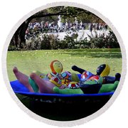 Piece Of Art Near The Musee Du Louvre In Paris France  Round Beach Towel