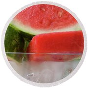 Pieces Of Watermelon In A Bowl Of Ice Cubes Round Beach Towel