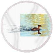Pied-billed Grebe Round Beach Towel