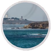 Piedras Blancas Lighthouse A2155 Round Beach Towel