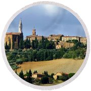 Pienza A Hill Town In Tuscany Round Beach Towel