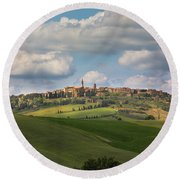 Pienza In The Afternoon Panorama Round Beach Towel