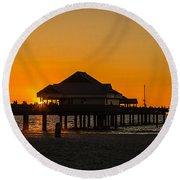 Pier 60 Sunset Round Beach Towel