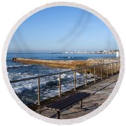 Pier And Promenade By The Atlantic Ocean In Cascais Round Beach Towel