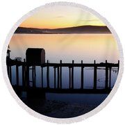 Pier At Bodega Bay California Round Beach Towel