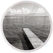 Pier At Lake Ohrid Round Beach Towel