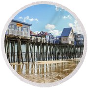 Pier At Low Tide Round Beach Towel