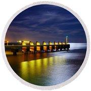 Pier At Night Round Beach Towel by Carlos Caetano