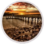 Pier At Smith Mountain Lake Round Beach Towel