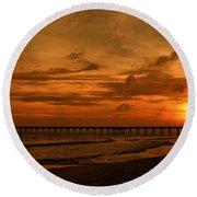 Pier At Sunset Round Beach Towel by Sandy Keeton