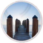 Pier By Sea Round Beach Towel