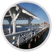 Clock Tower Pier Round Beach Towel