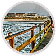 Pier Fishing 2 Round Beach Towel