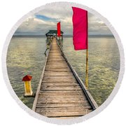 Pier Flags Round Beach Towel