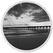 Pier In Black And White Round Beach Towel