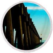 Pier Into The Horizon Round Beach Towel