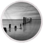 Pier Into The Past Black And White Round Beach Towel