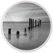 Pier Into The Past Bw 16x9 Round Beach Towel