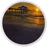 Pier Into The Sun Round Beach Towel