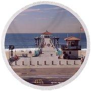 Pier Over An Ocean, Manhattan Beach Round Beach Towel
