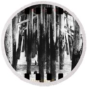 Pier Pilings Black And White Round Beach Towel