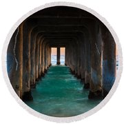 Pier Pylons Round Beach Towel