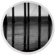 Pier Reflections Round Beach Towel