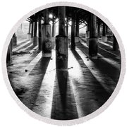 Pier Shadows Round Beach Towel