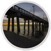 Pier Sunrise On A Cold January Morning Round Beach Towel