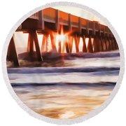Pier Sunrise Too Round Beach Towel