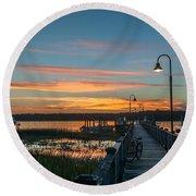 Pier Sunset Round Beach Towel