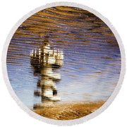 Pier Tower Round Beach Towel by Dave Bowman