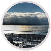 Piercing Cold Rays Upon The Waters Winter 2013 Round Beach Towel
