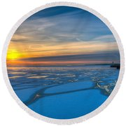 Pierhead Polar Vortex Sunrise Round Beach Towel