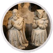 Pierre Jeannin And His Wife Sculpture Cathedral Autun Round Beach Towel