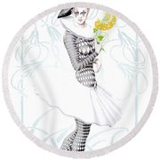 Pierrette In Love Round Beach Towel