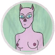 Pig Lady Round Beach Towel