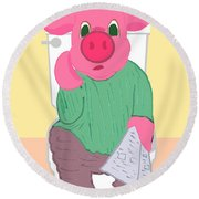 Pig On The Hopper Round Beach Towel