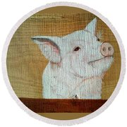 Pig Smile Round Beach Towel