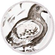 Pigeon I Sumi-e Style Round Beach Towel