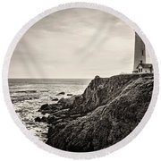 Pigeon Point Light Round Beach Towel