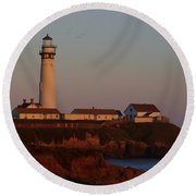 Pigeon Point Lighthouse At Sunset Round Beach Towel