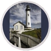 Pigeon Point Lighthouse II Round Beach Towel