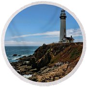 Pigeon Point Lighthouse Vertical Round Beach Towel