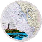 Pigeon Point Lighthouse On Noaa Nautical Chart Round Beach Towel