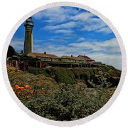 Pigeon Point Lighthouse Painted Round Beach Towel