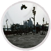 Pigeons Of San Marco  Round Beach Towel