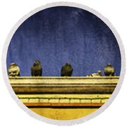 Pigeons On Yellow Roof Round Beach Towel
