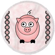Piggy - Animals - Art For Kids Round Beach Towel