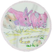 Pigs Cartoon Round Beach Towel